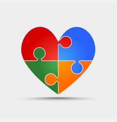 four color piece puzzle heart valentine love vector image