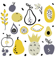 Fruits and berries flat icons set vector