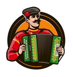 happy accordion player in national costume vector image