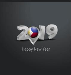 Happy new year 2019 grey typography vector