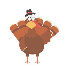 Happy thanksgiving day turkey with pilgrim hat vector