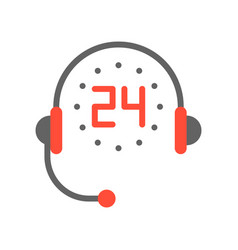 Headphone and 24 hours helpline service flat icon vector