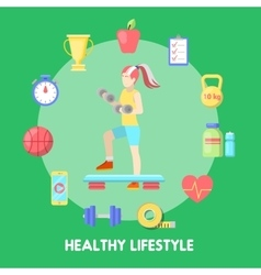 Healthy lifestyle fitness icon set with fit woman vector