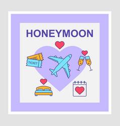 Honeymoon social media posts mockup vector