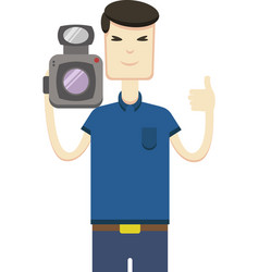 image of asian man with video camera vector image
