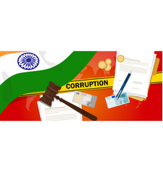 India fights corruption money bribery financial vector