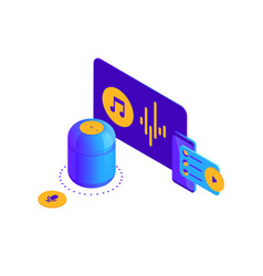 isometric blue violet smart vector image