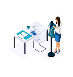 Isometric tailor a designer fitting a ready-made vector