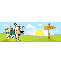Landscape banner with dog and directional signs vector