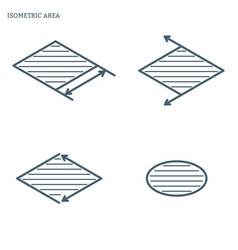 Line area isometric vector