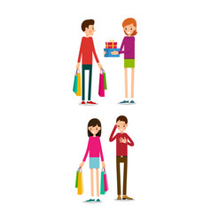 man and woman with shopping bags young people vector image