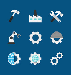 manufacturing flat icons vector image