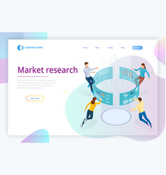Market research isometric business data analytics vector