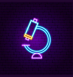 microscope neon label vector image