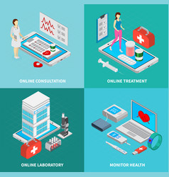 Mobile medicine concept icons set vector
