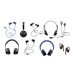 music earphones realistic black stereo audio vector image