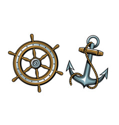 nautical concept set objects vector image