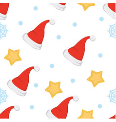 New year seamless pattern of christmas hats and vector