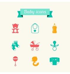 newborn baicons set in flat design style vector image