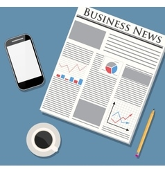 Newspaper mobile phone and coffee vector