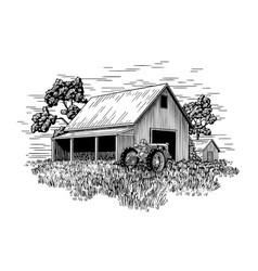 Old farm tractor and barn vector