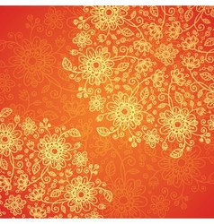 Orange doodle flowers ornate background vector