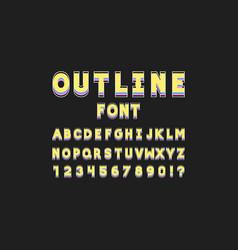 outline font alphabet vector image