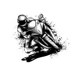 racer riding motorbike logo isolated on background vector image