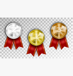 realistic award medals three winner champion vector image