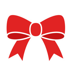 Red bow ribbon or riband gift decoration flat icon vector