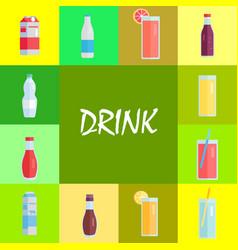 Refreshing drinks and sweet soda set vector