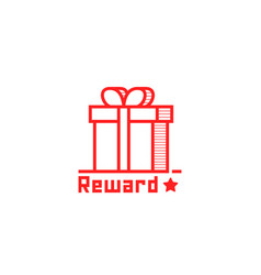 reward logo like thin line giftbox vector image