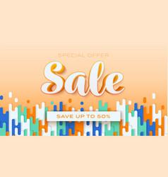 sale save up to 50 percent orange background vector image