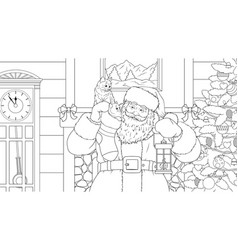 santa claus brought gifts vector image