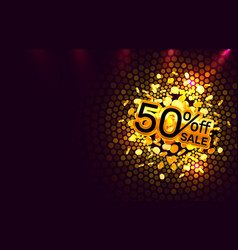 scene golden 50 sale off text banner night sign vector image