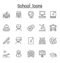 school education icon set in thin line style vector image