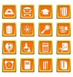 School education icons set orange square vector