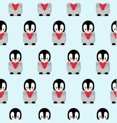 seamless pattern with cartoon penguin and heart vector image
