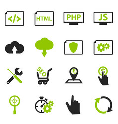 Seo and development icons set vector