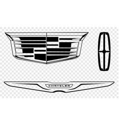Set american luxury car brands vector
