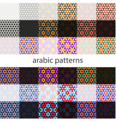set arabic background with seamless pattern in vector image