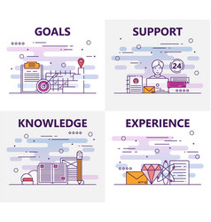 Set of banners with goals support vector