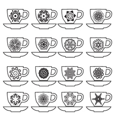 Set of collection cups with mandalas vector image
