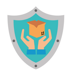shield with box carton and hands protection vector image