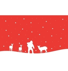 Silhouette of Santa with reindeer in hill vector image