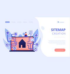 sitemap creation concept landing page vector image