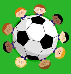 Soccer ball and kids soccer team vector