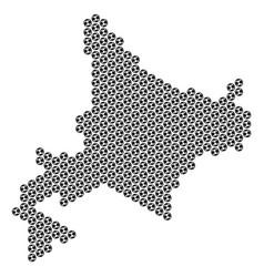 Soccer ball hokkaido island map mosaic vector