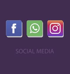 Social media icons facebook icon whatsapp icon vector