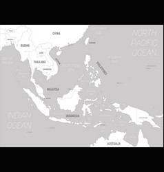 Southeast asia map - white lands and grey water vector